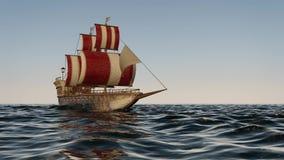 3D Animatie van een oud houten oorlogsschip op de oceaan royalty-vrije illustratie