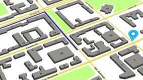 3d animatie van een route met gekleurde tellers op een abstracte stadskaart vector illustratie