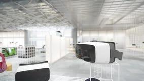 3d animatie van moderne tentoonstellingszaal voor gadgets stock video