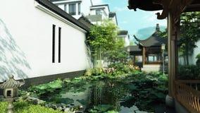 3d animatie van oosterse botanische tuin stock footage