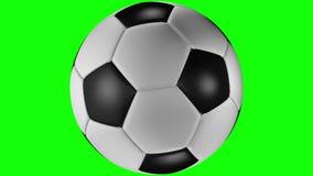 3D animatie van perfecte voetbalbal die aan het recht roteren royalty-vrije illustratie