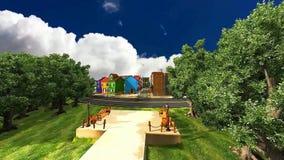 3D animatie 21 van stad en een weg van bomen die in de wind blazen royalty-vrije illustratie