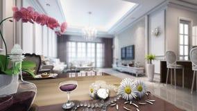 3d animatie van woonkamer van klassieke stijl stock footage