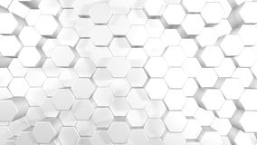 3D animation abstract background of a white hexagons rising up and down.