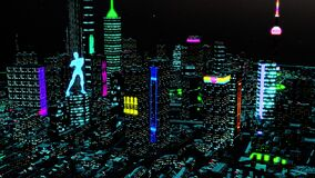 3d animation. Aerial view of a Dystopian Shanghai city in the future with projection mapping on buildings with cyberpunk