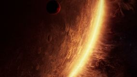 3D animation of an alien planet with amazing atmosphere