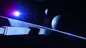 3d animation of an alien space station orbiting a distant star system