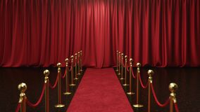 3D animation with alpha chanel, open and close luxure red silk, curtain decoration design. Red Stage Curtain for theater