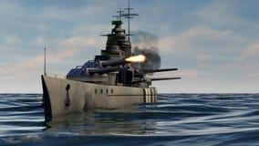 3d animation of a battleship firing heavy caliber guns