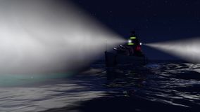 3d animation of a battleship in the open ocean by night