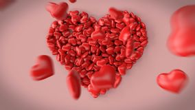 3d animation of a big heart made of little hearts. Beautiful 3d animation of a big heart made of little hearts without text. You can place any text in the royalty free illustration