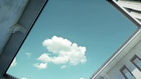 3d animation of clouds flying over patio stock footage