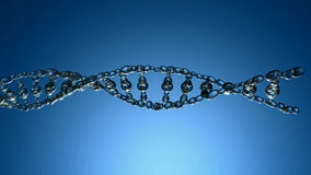 3D animation of DNA strands. On the blue background stock video