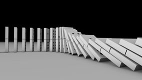 3D animation of dominoes falling down and effect another one in 4k ultra HD stock video