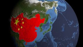 3D animation of earth satellite view China USA EU