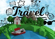 3D animation earth with sky background and graphic about travel. Digital composite of 3D animation earth with sky background and graphic about travel Royalty Free Stock Photo