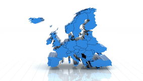 3d animation of Europe map stock video