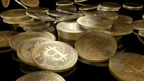 3d animation of falling bitcoin coins in slow motion. On black background stock video