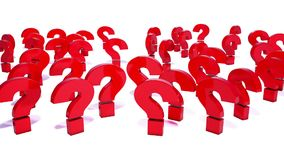 3d animation of falling question mark stock footage