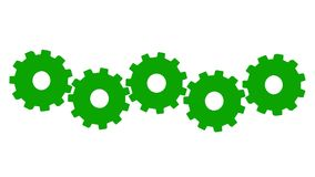 3 D animation five green gears rotate. White background. Alpha channel royalty free illustration