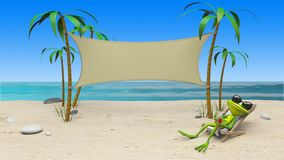 3D Animation of a frog in a deckchair on the beach stock footage