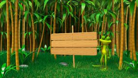 3D Animation of a Frog in the Jungle. With Wooden Plate Looped Video stock video