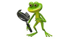 3D Animation frog with magnifier with Alpha Channel stock footage