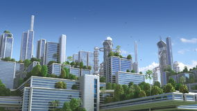 3D Animation of a futuristic `green` city