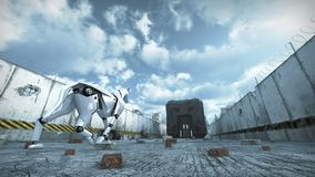 Animation of a robot dog walking in barbed wire city. 3D rendering. 3d animation of a futuristic robot dog walking in a ruined city. The mechanical artificial royalty free illustration