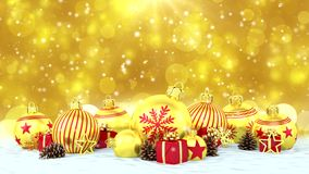 3d animation - golden christmas baubles over bokeh background stock video footage