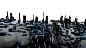 3D animation of growing city building and modern architecture construction of cityscape in aerial view and industrial concept. In white background 4k stock video