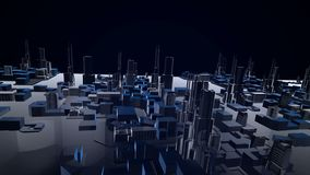 3D animation of growing city building and modern architecture construction of cityscape in aerial view and industrial concept 4k. N stock footage