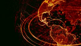3d animation of a growing network across the world - red version stock footage