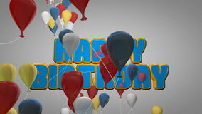 3D animation of happy birthday party celebration with colorful balloons and cute cartoon text for introduction title background. In kid balloon party concept royalty free illustration