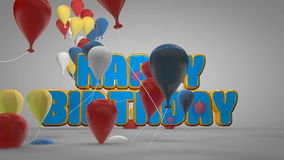 3D animation of happy birthday party celebration with colorful balloons and cute cartoon text for introduction title background. In kid balloon party concept stock illustration
