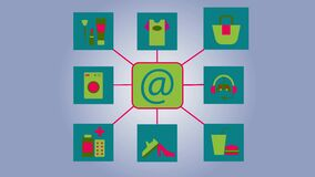 2D animation, icon of e-mail appearing on blue grey background, then icons with signs of clothing, cosmetics, household