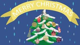 2D animation 4K d'arbre de Noël avec le Joyeux Noël de message illustration libre de droits