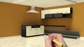 3d animation of kitchen