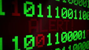3d animation: looped animated background with running lines with binary code and shimmering text `ALERT` light-green and red. Color on the black screen. Pixels stock video footage