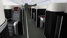 3D animation of luxurious business class cabin interior stock video