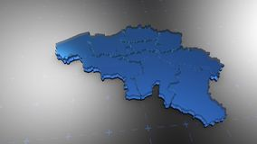 3D Belgium - Translucent. 3D animation map for infographic royalty free illustration