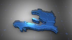 3D Haiti - Translucent. 3D animation map for infographic royalty free illustration