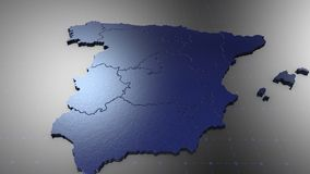 3D Spain - Metal. 3D animation map for infographic stock illustration
