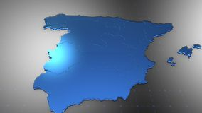 3D Spain - Translucent. 3D animation map for infographic vector illustration