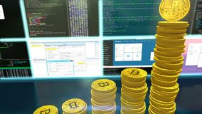3D animation of mining bitcoins with moving camera. 3D camera moves around bitcoins. CG animation of the process of computing data for mining bitcoins and other stock illustration