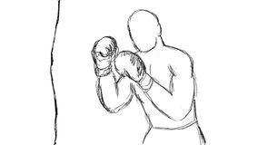 Boxer Throwing Punches Punching Bag Drawing 2D Animation stock footage