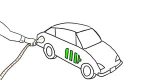 Electric vehicle charging drawing 2D animation stock video