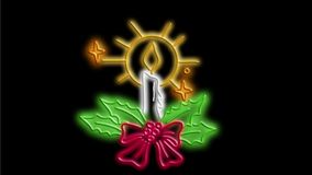 Christmas candle wreath neon sign 2D animation stock video footage