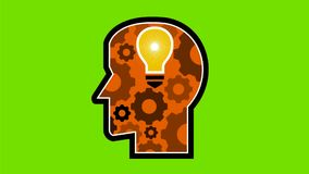 Head with Light Bulb and Cog Retro 2D Animation. 2d Animation motion graphics showing a retro icon style human head with glowing light bulb and mechanical gear vector illustration