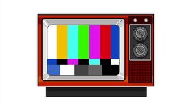 Retro Television Set TV Test Card Signal Pattern 2D Animation